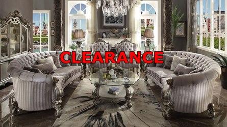 Versailles Crescent Living Room Set in Platinum