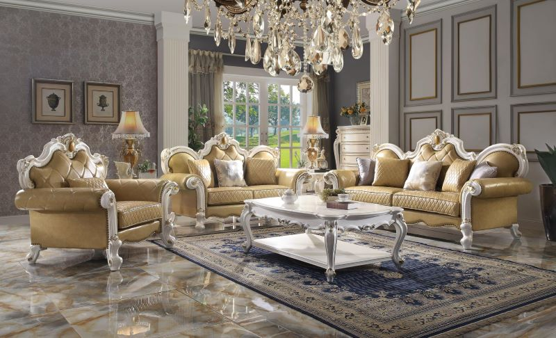 Picardy Formal Living Room Set in Butterscotch/Antique Pearl