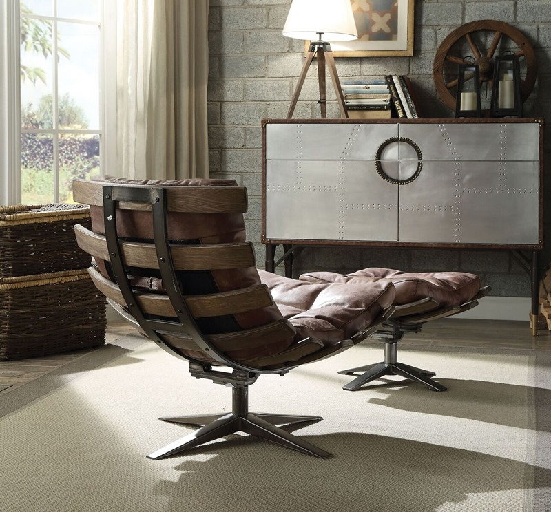 Gandy Leather Accent Chair Set in Brown