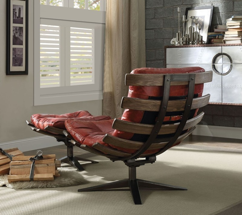 Gandy Leather Accent Chair Set in Red