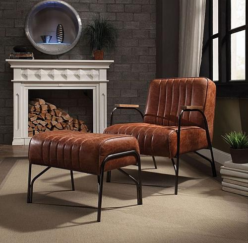 Sarahi Leather Accent Chair Set in Cocoa