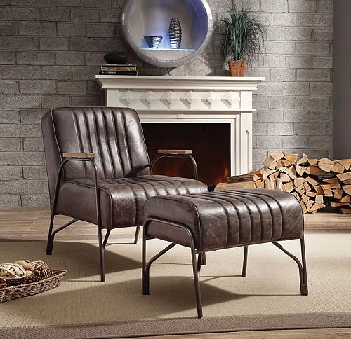 Sarahi Leather Accent Chair in Espresso