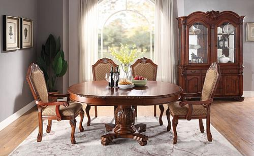 Chateau De Ville Formal Round Dining Room Set in Cherry