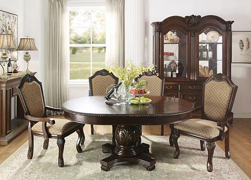 Chateau De Ville Formal Round Dining Room Set in Espresso