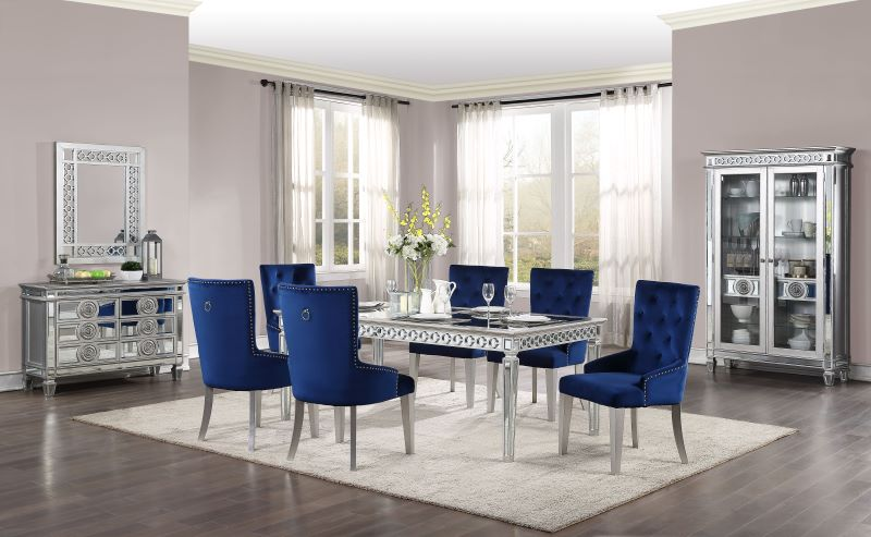 Acme 66155 Varian Mirror Top Table Formal Dining Room Set Free Delivery
