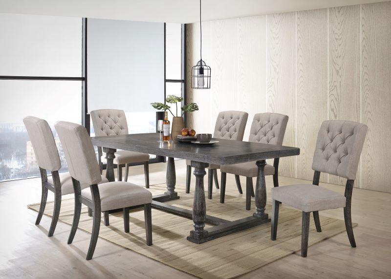 Bernard Dining Room Set in Weathered Gray Oak