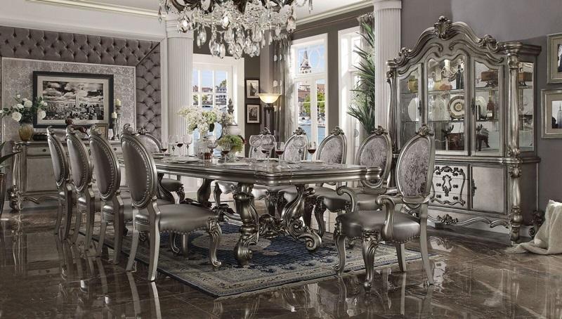 Acme | 66830 Versailles Large Formal Dining Room Set in Platinum | Dallas  Designer Furniture