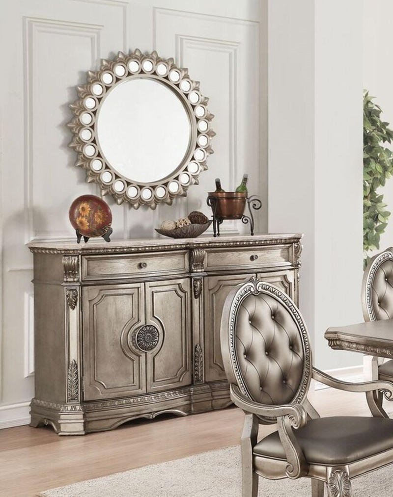 round formal dining room tables   Acme   66915 Northville Formal Dining Room Set with Round ...