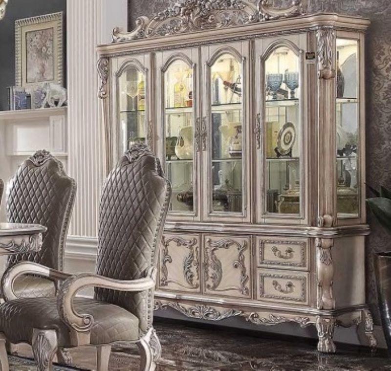 Dresden Formal Dining Room Set in Vintage Bone White w/ Leaf