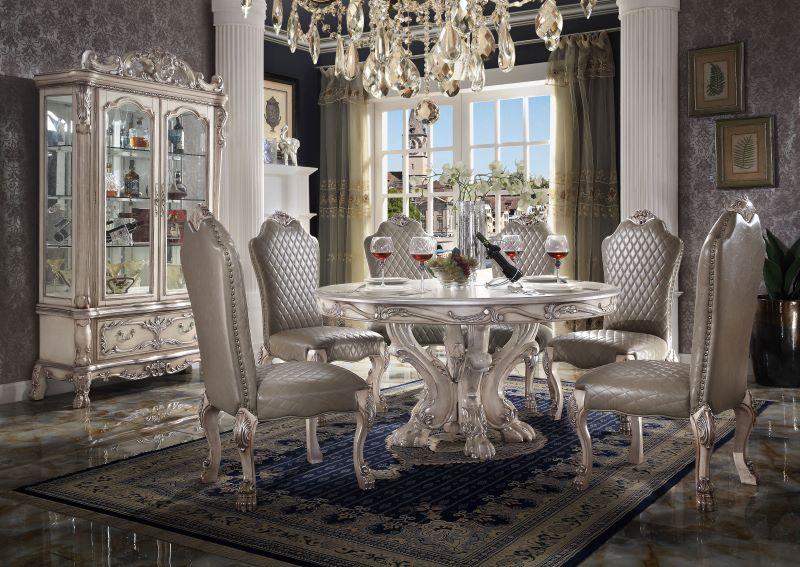 Dresden Formal Round Dining Room Set in Vintage Bone White