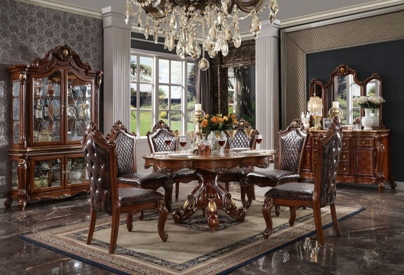 Picardy Round Formal Dining Room Set in Cherry Oak