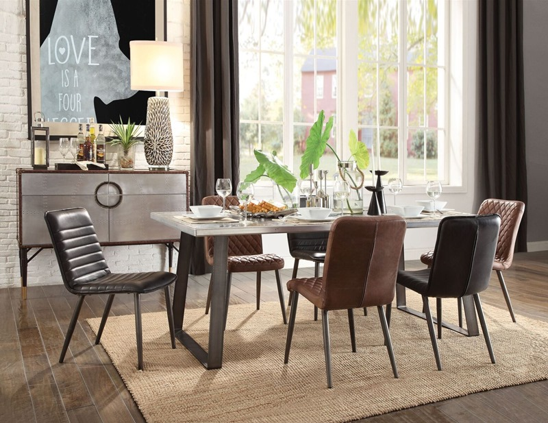 Acme | 70105 Kaylia Dining Room Set with Black Leather Chairs | Dallas  Designer Furniture