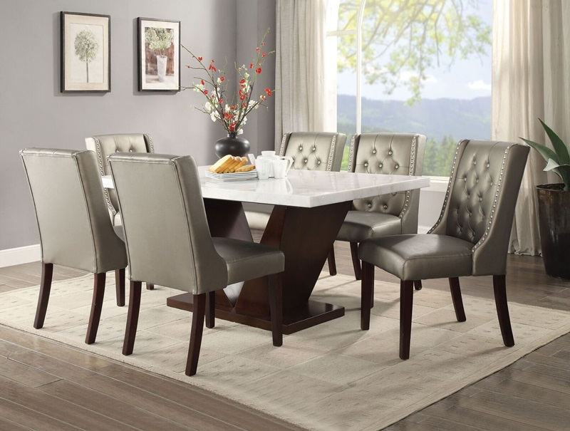 Forbes Dining Room Set with Silver Chairs