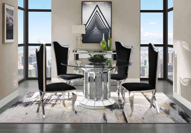 Noralie Round Pedestal Dining Room Set with Curved Chairs