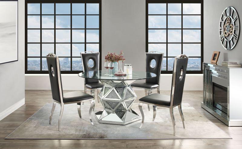 Noralie Round Mirrored Dining Room Set