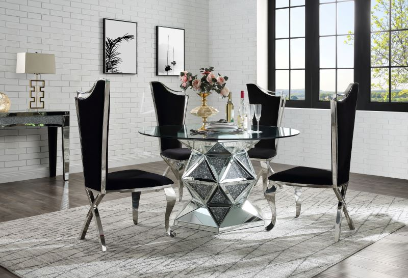 Noralie Round Mirrored Dining Room Set with Curved Chairs
