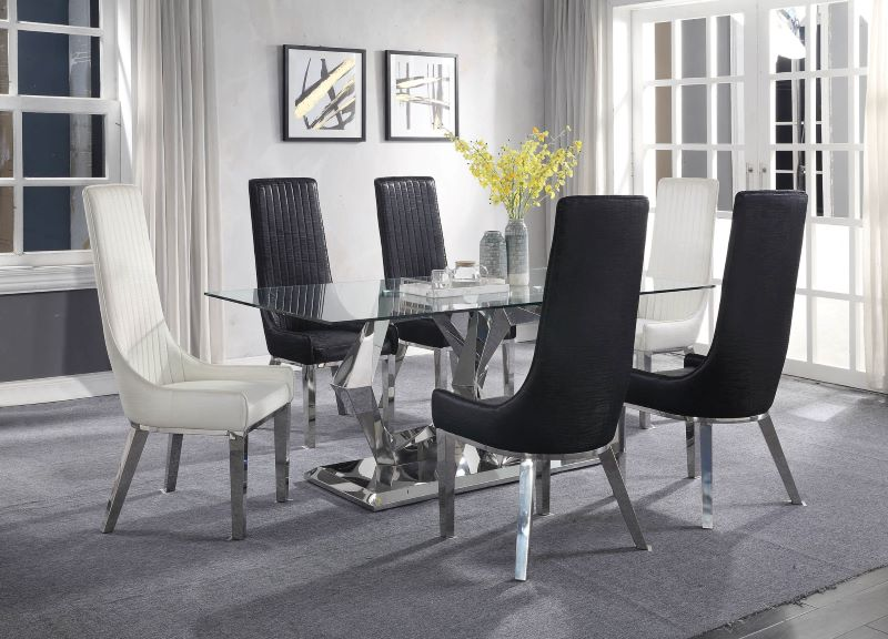 Gianna Dining Room Set with Black Chairs