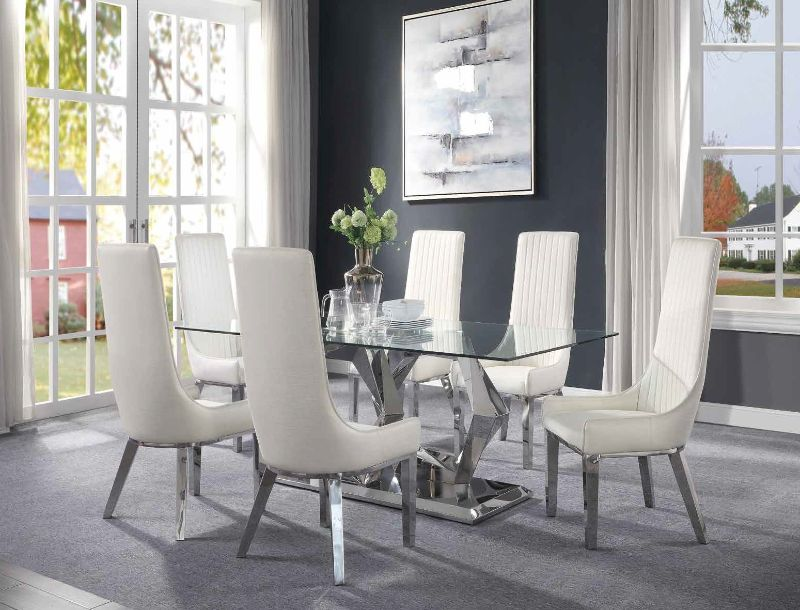 Gianna Dining Room Set with White Chairs