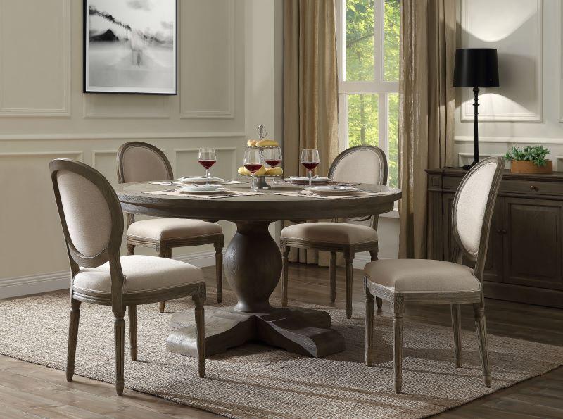 Rudy Round Dining Room Set in Elegant Gray