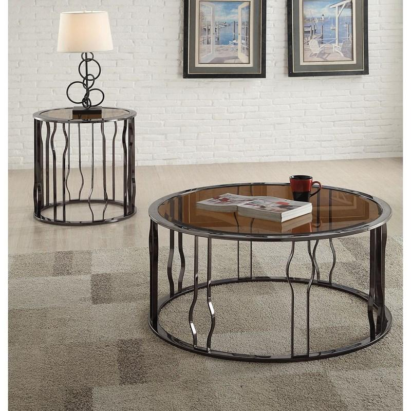 Alys Round Glass and Chrome Coffee Table Set *Clearance*