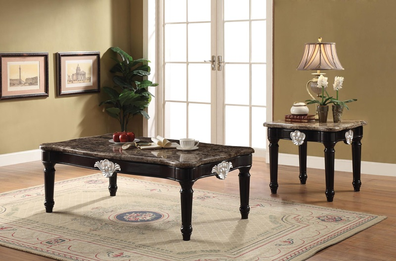Ernestine Coffee Table Set with Marble Tops
