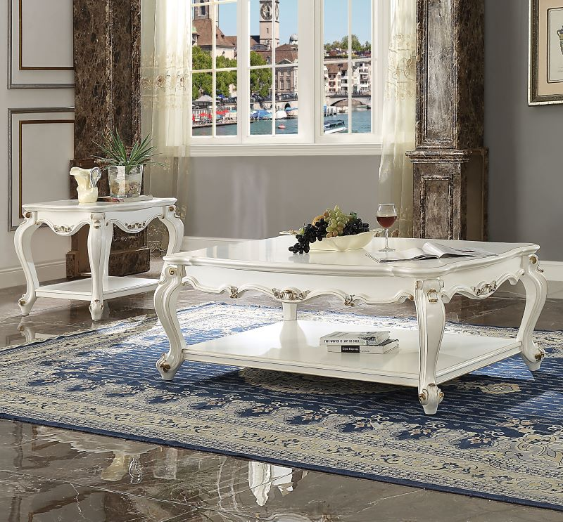 Picardy Rectangular Coffee Table Set in Antique Pearl Finish