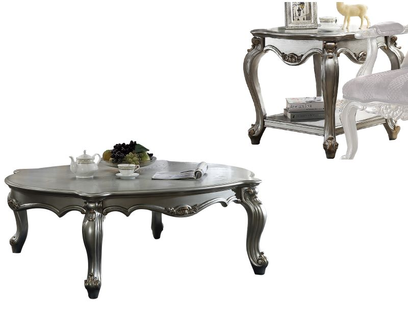 Picardy Coffee Table Set in Platinum Finish