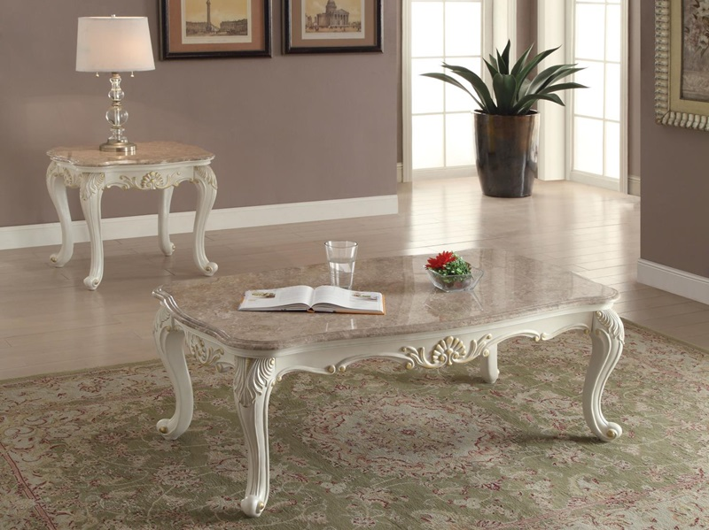 83540 Chantelle White Coffee Table Set Acme Free Delivery