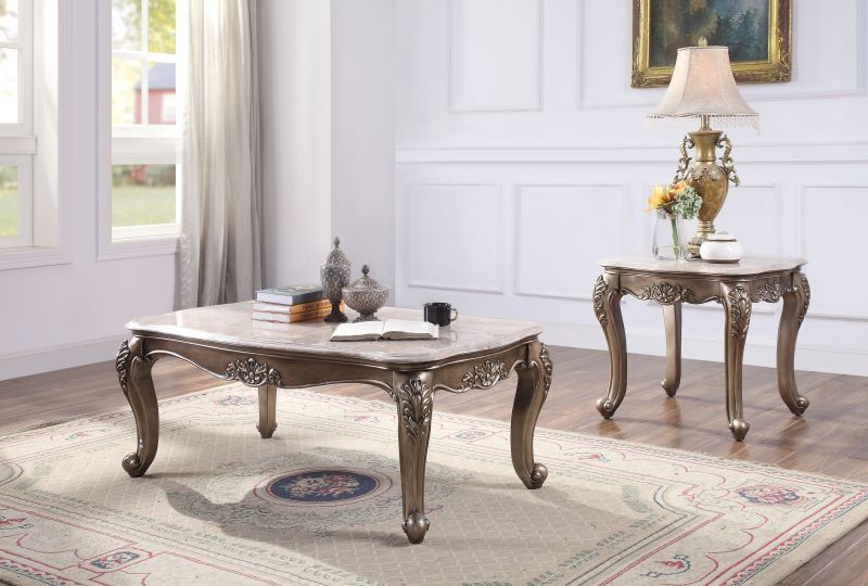 Jayceon Marble Top Coffee Table Set in Champagne Finish