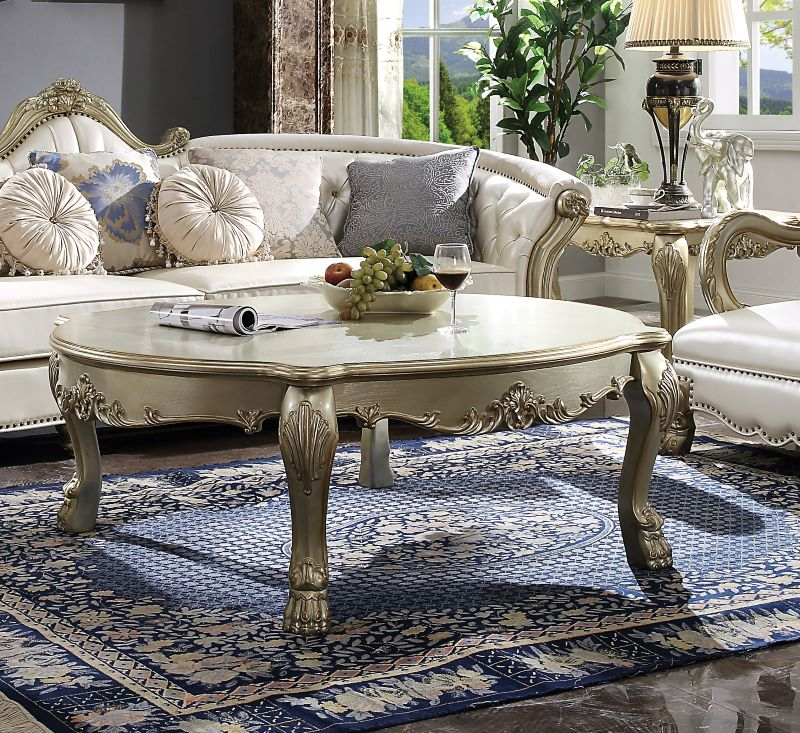 Dresden II Coffee Table Set in Gold Patina Bone Finish