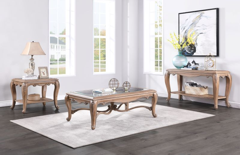 Teagan Coffee Table Set in Oak Finish
