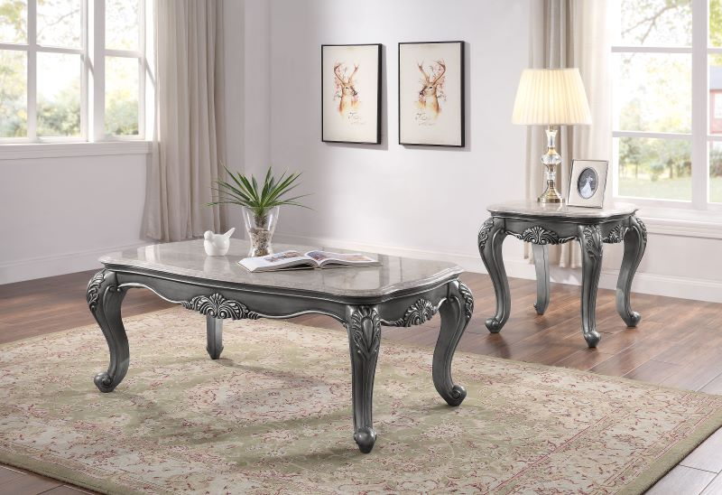 Ariandne Marble Top Coffee Table Set in Platinum Finish