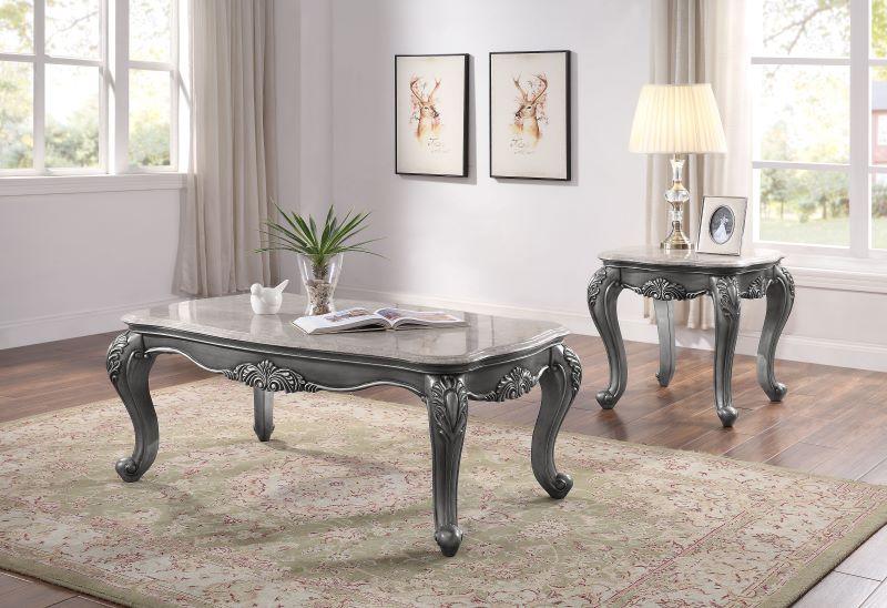 Ariadne Formal Living Room Set in Platinum