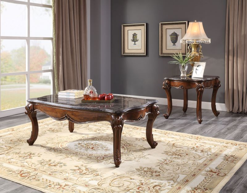 Miyeon Marble Top Coffee Table Set in Cherry Finish