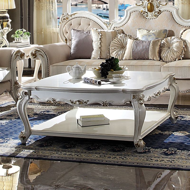 Picardy Coffee Table Set in Antique Pearl Finish
