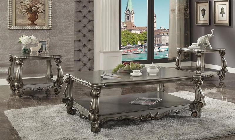 Versailles Coffee Table Set in Platinum