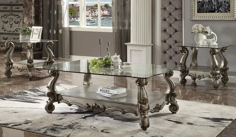 86840 Versailles Glass Top Platinum, Glass Table Sets For Living Room