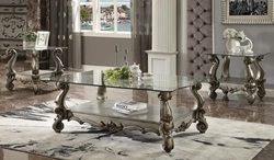 Versailles Coffee Table Set in Platinum with Glass Top