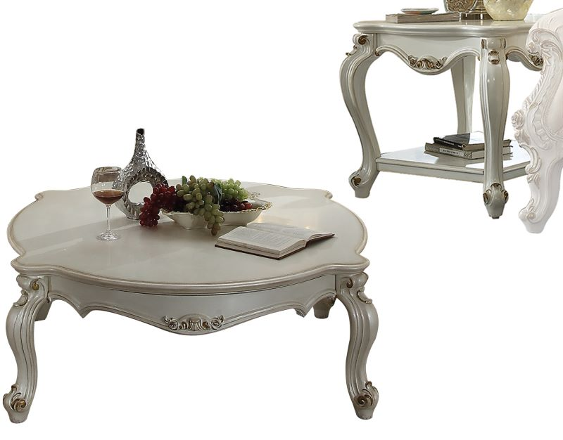 Picardy Rounded Coffee Table Set in Antique Pearl Finish