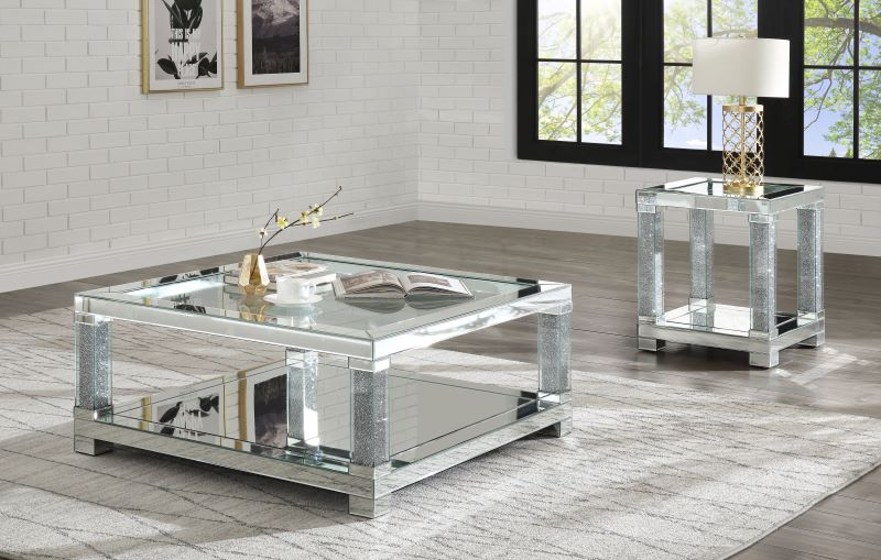 Noralie Mirrored Coffee Table Set with Faux Diamonds