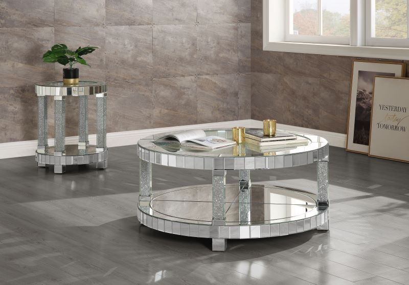 Fafia Mirrored Coffee Table Set with Faux Gems