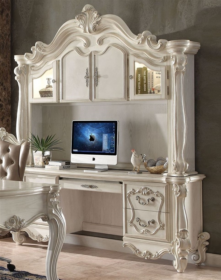 Versailles Computer Desk with Hutch in White *Clearance*
