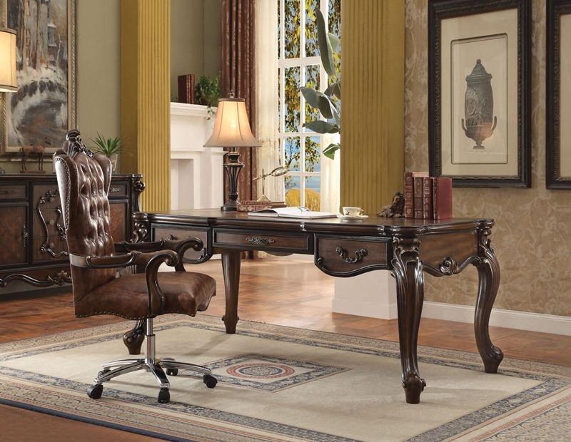 Acme 922800 Versailles Executive Desk Set In Cherry Oak