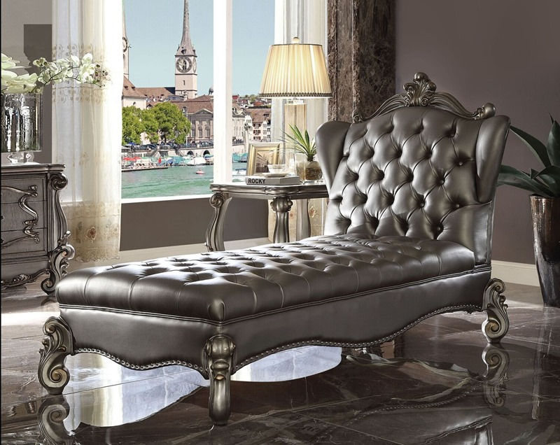 Versailles Formal Chaise in Platinum