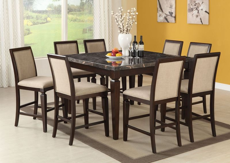 Agatha Counter Height Dining Room Set with Black Marble Top