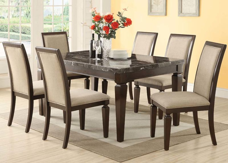 Agatha Dining Room Set with Black Marble Top
