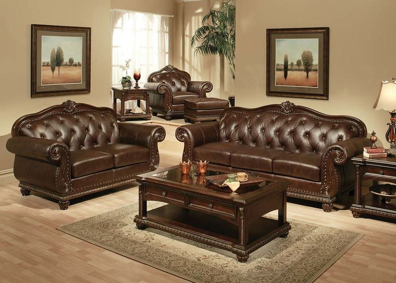 anondale formal leather living room set - Living Room Leather Sofas