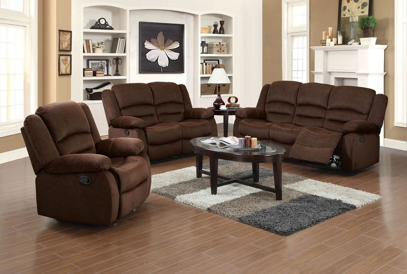 Bailey Reclining Living Room Set in Velvet