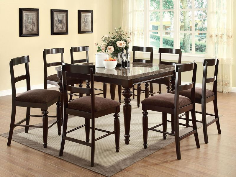 Bandele Counter Height Dining Room Set with Slat Back Chairs