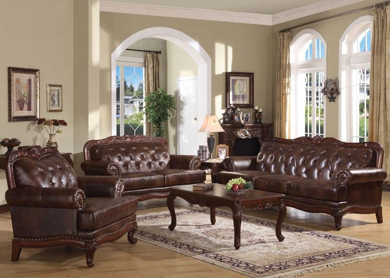 Dallas Designer Furniture | Birmingham Formal Leather Living Room Set